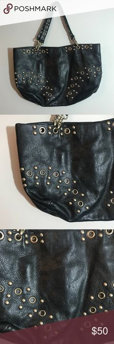 """Black HOBO International Leather Purse with Studs Excellent condition. No flaws on the outside. The inside has some very minor marks. Please see pictures for closeups. Size approximately 11""""x17"""" HOBO Bags Shoulder Bags"""