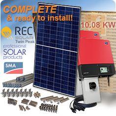 10 KW REC TwinPeak REC280TP-BLK Solar Panel System
