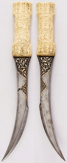 Persian jambiya, 19th century, steel, bone, gold, H. 17 1/4 in. (43.8 cm); H. of blade 11 1/2 in. (29.2 cm); W. 2 1/8 in. (5.4 cm); Wt. 16.3 oz. (462.1 g), Met Museum, Bequest of George C. Stone, 1935.