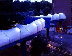 Plashet School Footbridge in London by Birds Portchmouth Russum Architects School Building Design, Membrane Structure, Tensile Structures, Organic Structure, Fabric Structure, Pedestrian Bridge, Pathways, Landscape Architecture, Cool Pictures