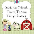 This is handy set of Farm themed resources for classroom groups and for going back to school.  It includes teacher forms such as a Substitute Teach...