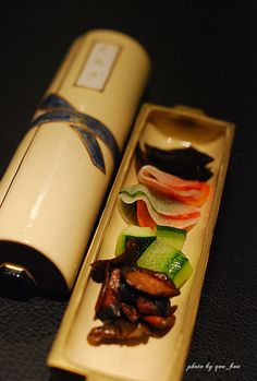 Tsukemono Boat, Pickled Vegetables at Yushima Kurogi, New Iron Chef's Restaurant (Tokyo, Japan)|湯島くろぎの京漬物盛り合わせ