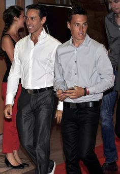 (R) Louis Ducruet (oldest son of Princess Stephanie of Monaco) and father Daniel Ducruet (L) at the Sporting Monte-Carlo summer for the final of the Million Dollar Super 4, on 13 July 2013