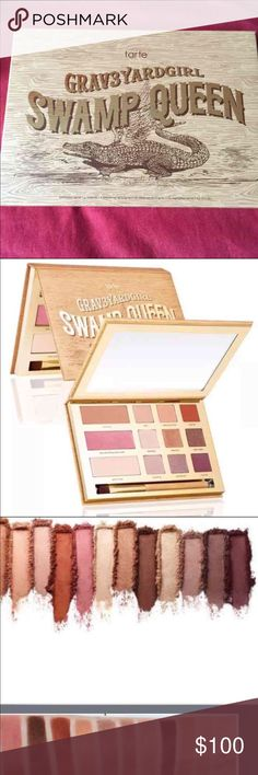 Tarte Grav3yardGirl Swamp Queen Palette Sold Out PRICE FIRM. KINDLY NO OFFERS!  NEW LIMITED EDITION Tarte Grav3yardGirl Swamp Queen Palette SOLD OUT. This is a gorgeous must have pallet.  Brand New Limited Edition Swamp Queen Eye & Cheek Pallet With Brush. #SFS (rose gold) natural peaches (peachy nude) dogman (burnt sienna) big baby (cream) sassy bun (copper peach) sippy sippy (glittery brown) haunting (lavender) uncommon (purple slate) mancat (deep plum) sweet tea (bronzer) gator wings…