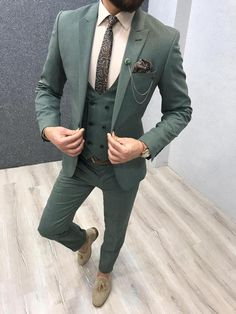 Available Size : Suit material : wool, polyester Machine washable : No Fitting : slim-fit Cutting : double slits, cover pocket, double button Remarks : Dry Cleaner Blazer Outfits Men, Stylish Mens Outfits, Indian Men Fashion, Mens Fashion Suits, Green Suit Men, Black Suits, Dapper Suits, Formal Men Outfit, Classy Suits