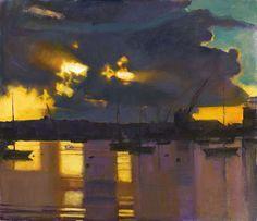 John Raynes, b. 1929. Dawn, Falmouth Docks II,  oil on canvas.