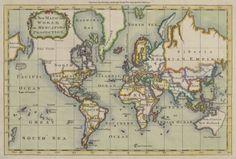 Mapamundi grabado por el cartógrafo inglés Prinald, publicado en 1766