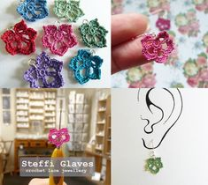 Micro crochet daisy and sunflower jewellery pattern crochet Crochet Sunflower, Crochet Daisy, Crochet Leaves, Crochet Flowers, Lace Jewelry, Fabric Jewelry, Jewellery, Diy Crochet Clothes, Thanksgiving Crochet