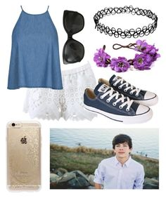 """""""Date At The Lake With Hayes"""" by futuremrsclifford ❤ liked on Polyvore featuring Alexis, Converse, Rifle Paper Co and Chanel"""