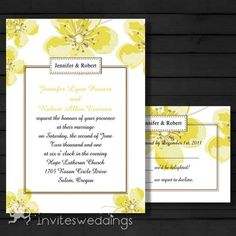 yellow spring floral wedding invitations Yellow Wedding Invitations, Wedding Invitations Online, Invites, Wedding Styles, Wedding Ideas, Cherry Blossom Wedding, Yellow Springs, Diy Dress, Wedding Party Dresses