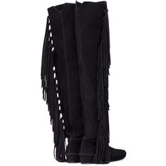 BLACK FRINGED OVER-THE-KNEE BOOTS ❤ liked on Polyvore featuring shoes, boots, black fringe boots, black over-the-knee boots, black thigh-high boots, above-knee boots and above the knee boots
