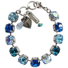 Mariana Silver Plated Classic Large Shapes Swarovski Crystal Bracelet, Blue Lagoon. Available at www.regencies.com