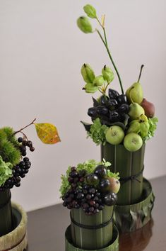 Modern arrangements of fruit and flowers