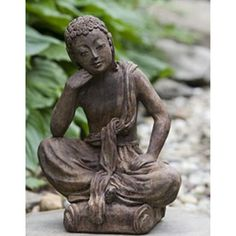 Campania International Small Seated Buddha Cast Stone Garden Statue Natural - OR-122-NA