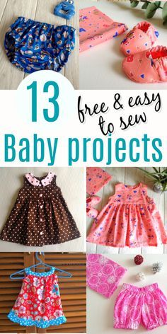 Are you looking for easy things to sew for your little baby or a baby shower? Well here are 13+ easy DIY sewing projects that are sure to excite you. This sewing tutorial round-up post includes patterns for baby dresses, baby rompers, baby blankets, diaper covers, bloomers, baby booties, and more. What more can you ask for when you can get printable templates for almost all of the sewing patterns, all for free! #babysewingprojects #babysewingpatterns #babysewingpatternsfree #whattosew Baby Girl Dress Patterns, Baby Clothes Patterns, Sewing Patterns For Kids, Coat Patterns, Blouse Patterns, Children's Dress Patterns, Sewing Baby Clothes, Sewing Coat, Dress Sewing