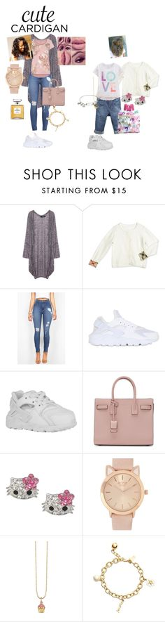 """Untitled #86"" by seleste2 ❤ liked on Polyvore featuring Burberry, NIKE, Yves Saint Laurent, Juicy Couture, Bantu, Chanel, Sydney Evan, Kate Spade, Alex and Ani and cutecardigan"