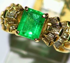 NEW 2.41CT 14K GOLD NATURAL COLOMBIAN EMERALD CUT WHITE DIAMOND ENGAGEMENT RING #Handmade #Cocktail
