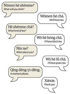 Mandarin at a restaurant conversation