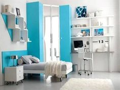 Colorful, Beautiful And Cute Furniture For Teen Room Decorating Ideas: The Scenic Light Blue Colour As The Emphasis In Your Teen Bedroom Interior Room Design Idea For Teenage Girl ~. Teenage Girl Bedroom Designs, Teenage Girl Bedrooms, Teenage Room, Tween Girls, Teen Boys, Blue Bedroom, Girls Bedroom, Bedroom Ideas, Design Bedroom