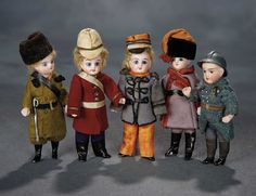 """The Voyage Continues"" - Saturday, January 7, 2017: 69 Collection of Five German All-Bisque Miniature Dolls in Military Costumes"
