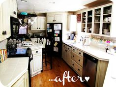 Raising up Rubies: a shabby vintage kitchen ... ♥ --> love the teacup display along the back of the counter!