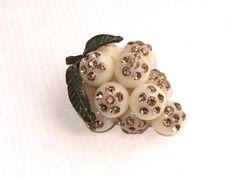 SALE! RARE & UNUSUAL Bakelite Style Celluloid Forbidden Fruit Brooch with Rhinestones - Austrian 1950s