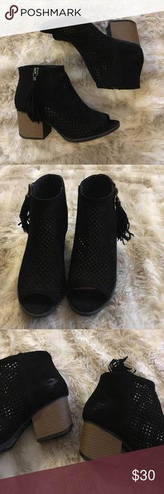 """Black booties Black faux suede peep toe booties with tassels. Excellent used condition as only worn twice. Small scuffs on interior sides, see pic. Heel height is approximately 2 1/2"""". Qupid Shoes Ankle Boots & Booties"""
