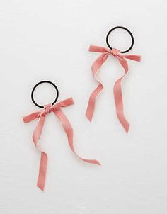 Aerie Velvet Ribbon Hair Ties , Pink | Aerie for American Eagle