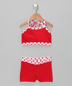 Take a look at this Red & White Polka Dot Crop Top & Shorts - Girls by Elliewear on today! Crop Top Outfits, Crop Top And Shorts, Mom Outfits, Dance Outfits, Sport Outfits, Gymnastics Outfits, Gymnastics Wear, Dance Gear, Gym Leotards