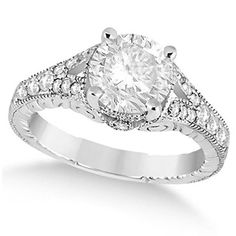 14k Gold Antique Style Art Deco Round Diamond Engagement Ring Check more at https://engagementringsandweddingbands.com/product/14k-gold-antique-style-art-deco-round-diamond-engagement-ring/