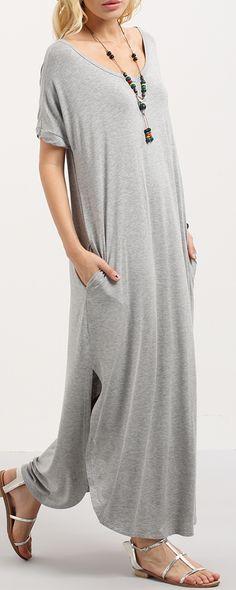 Grey Short Sleeve Pocket Split Side Dress. Super fashion & comfortable!