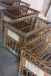 wicker french baskets ohhhh ♥ WANT! French Baskets, Old Baskets, Vintage Baskets, Wire Baskets, Rustic Baskets, Storage Baskets, Rattan, Wicker, French Decor