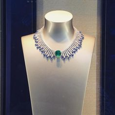"""The scene at @piaget #piaget #jewels #finejewelry #luxurious #diamonds #emerald #sapphires #necklace #windowshopping #nyc"""