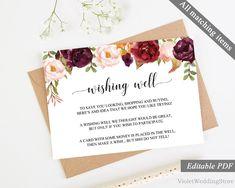 Marsala Wishing Well Card Template. Printable Wishing Well Card. Burgundy Wedding Calligraphy Modern Pink Floral Flower Wishing Well. PDF http://etsy.me/2CrDlWm #papergoods #red #wedding #pink #wishing #well #card #template #printable