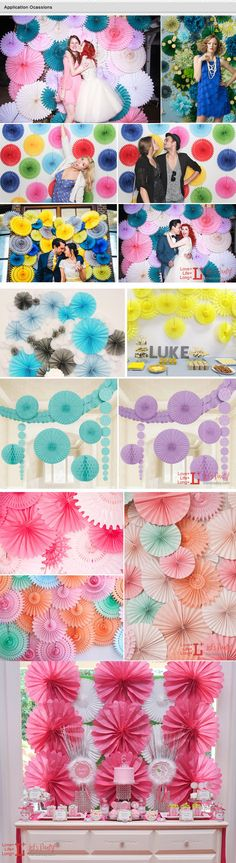 """Free Shipping 10pcs Medium 12"""" Hanging Paper Fans Tissue Fans for Wedding Baby Bridal Shower Birthday Party Decoration-inDecorative Flowers ... Festival Decorations, Birthday Party Decorations, Birthday Parties, Ganapati Decoration, Paper Fans, Photo Booth Backdrop, Wedding Hire, Pinwheels, Paper Flowers"""