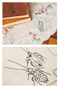 I love the addition of the creepy embroidery on the vintage linens. There is a great spider pattern too.