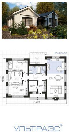Ультра Эс. Проект дома S64 - Небольшой функциональный одноэтажный дом в английском стиле. Общая площадь: 114.9 м2 Внутреннее пространство дома очень функционально и обеспечит небольшой современной семье комфортное проживание как в городской среде, так и в природном окружении. #ультраэс #проектдома #планировка