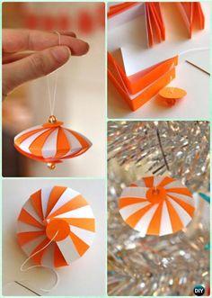 DIY Striped Paper Ornament Instruction- DIY Paper Christmas Tree Ornament Craft Ideas