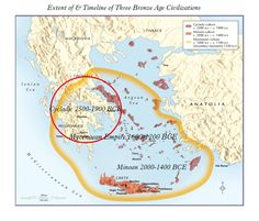 A Map of the Cycladic World, the Minoan Civilization & the Mycenaean Empire & a…