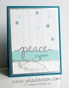 Stampin' Up! Holiday Catalog Sneak Peek: Christmas Greetings Thinlit + Woodland Embossing Folder #stampinup #christmas www.juliedavison.com