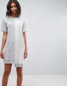 ASOS Fleece Brushed Mixed Sweat Dress - Gray