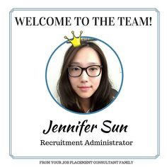 Jennifer joined our team recently from China with 9 years of experience in Human Resources and Master Degree from UK majoring in Marketing Management. Jennifer is an easy going and friendly person. She is the one who supports all our managers and candidates. Welcome Jennifer!!!