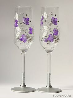 Purple Wedding Glasses, Purple Wine Glasses, Purple Champagne Flutes, Anniversary Gift, Wedding Flutes A set of two elegant champagne toasting glasses, which can be used for your wedding day, sophisticated present, anniversaries and any other occasions . Each of them can be personalized
