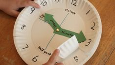 Math > Time/Date Use paper plates to make a clock for teaching time Math Classroom, Kindergarten Math, Teaching Math, Teaching Time Clock, Teaching Money, Fun Math, Math Activities, Maths, Telling Time Activities
