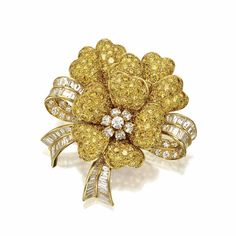Yellow and white diamond flower brooch, Van Cleef & Arpels, New York, 1994  | lot | Sotheby's