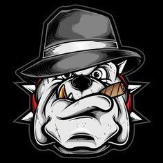 Gangster Pitbull With Fedora Hat Bulldog Cartoon, Bulldog Mascot, Skull Rose Tattoos, Art Tattoos, Cartoon Character Tattoos, Bulldog Drawing, Skull Illustration, Dog Vector, Dog Logo