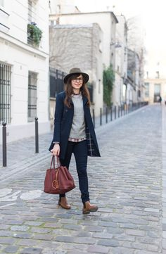 Layers :: navy coat, grey sweater, plaid shirt, booties and hat