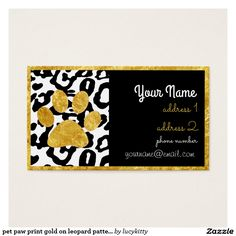 pet paw print gold on leopard pattern business card