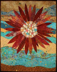 Handmade Art Quilt Flowerburst by joystrings on Etsy aqua rust Mondrian, Watercolor Quilt, Sunflower Quilts, Handmade Wall Hanging, Landscape Quilts, Sewing Art, Arte Popular, Quilted Wall Hangings, Mini Quilts
