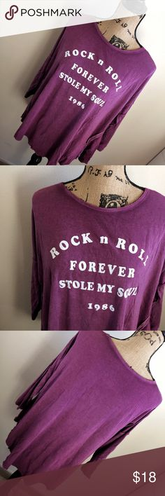Rock N Roll Stole My Soul Purple Long Sleeve Tee Measurements approx: 48 inch bust * 25 inch length Very soft material, cozy Perfeft with jeans, yoga pants, can be dressed up or down grayson/threads Tops Tees - Long Sleeve